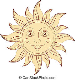 sun - Illustration of sun isolated on white background