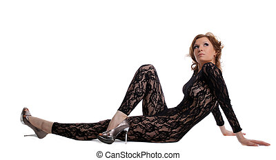 sexy woman look naked dress in lace body shirt