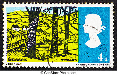 Postage stamp GB 1966 Landscape near Hassock, Sussex - GREAT...