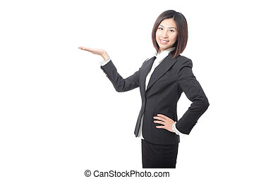 young business woman introducing something