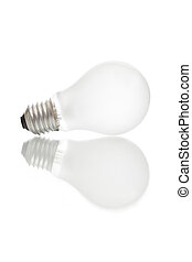Isolated mate light bulb on white background with reflection