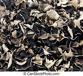 Texture from the dry black Chinese mushrooms