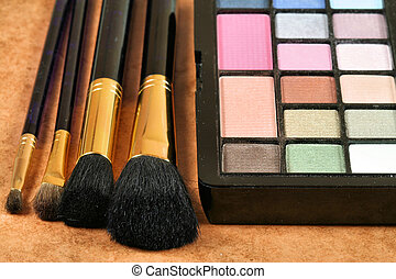 Eye shadows and make up brushes