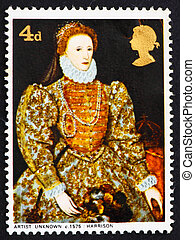 Postage stamp GB 1968 Elizabeth I, artist unknown - GREAT...