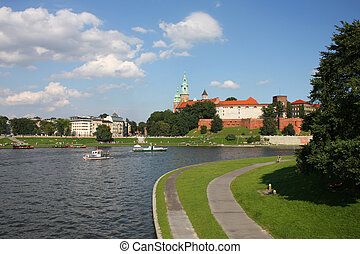 Wawel and Vistula river - Wawel castle in Cracow, Poland...