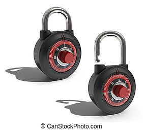 Padlocks - Two padlocks exactly the same position, one open...