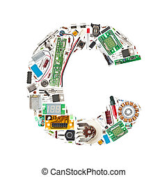 electronic components letter - Letter 'C' made of electronic...