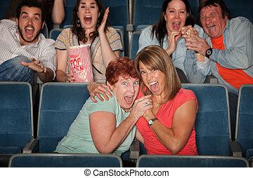 assustado, pessoas, observar, filme