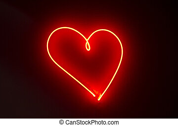 Heart shape red neon lights - Heart shape neon lights in a...