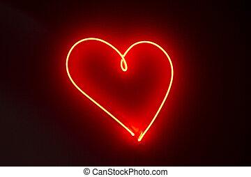 Heart shape red neon lights - Heart shape neon lights in a...