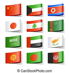 World flags Asia - Vector illustration of world flags Asia...