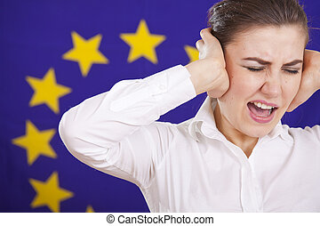 frustrated woman screaming over european flag