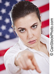 serious american politics - serious woman pointing with a...