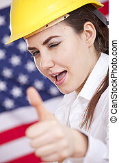 happy manual worker with thumb up sign