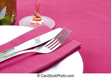 Elegant red and white place setting