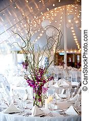 boda, mesas, Conjunto, multa, Cenar
