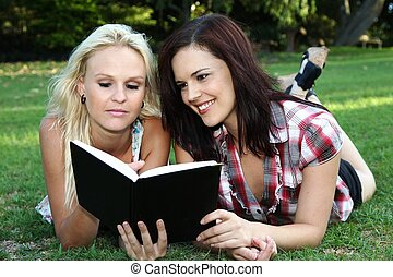 Beautiful Ladies Reading Book
