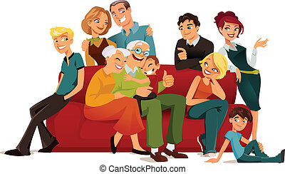 Multi generation family posing arround a red sofa