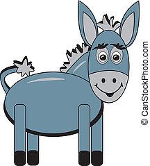 feliz, caricatura, burro