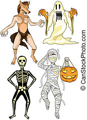 Halloween costumes - Illustration of halloween monsters...