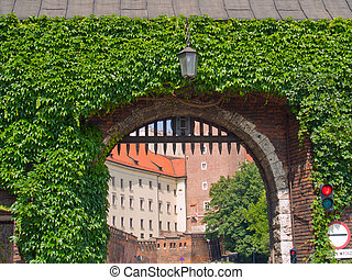 gate to royal castle, Krakow, Poland - gate to royal castle...