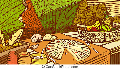 Food mural - Illustration of bread, pizza and vegetables on...