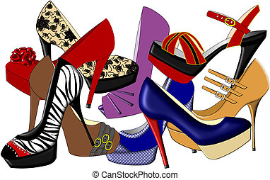 High Heels - An illustration of high heeled shoes in various...