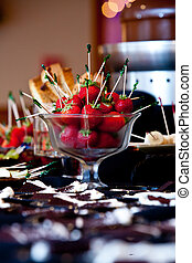 bowl of strawberries for dipping in a chocolate fountain