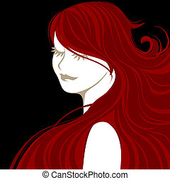 Girl with red hair - Vector illustration of beautiful female...