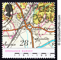 Franqueo, 1991, mapa, estampilla, aldea, GB, Kent, hamstreet...