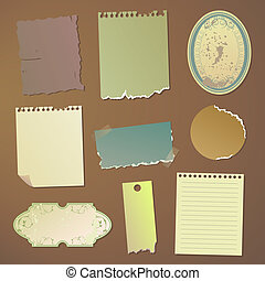Vector note papers - Vector illustration of different note...