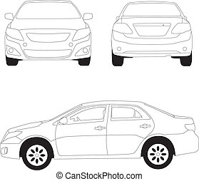 City car line illustration on white