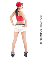 Cool hip hop girl dancer doing a pose isolated in white