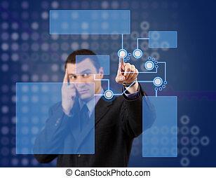 High tech panel - Businessman pressing high tech panel on a...