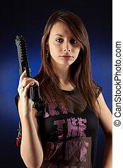 Estilo libre, mujer, Posar, armas de fuego