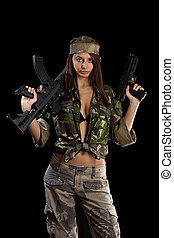 Woman with a rifle - The beautiful woman with a rifle on a...
