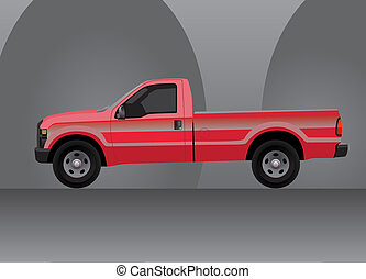 Pick-up truck with grey background