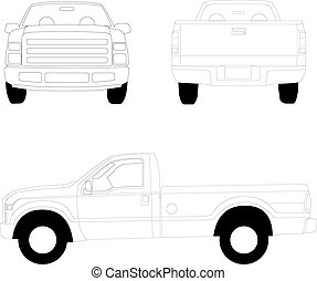 pick-up, camion, linea, illustrazione