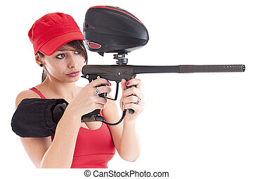 freestyle girl and paintball
