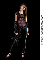 freestyle girl posing with guns