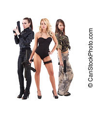 Three attractive young women with guns