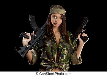 Beautiful girl with a rifle