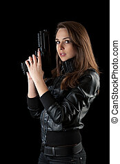 sexy woman with guns