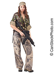 woman in military uniform - Shot of a sexy woman in military...