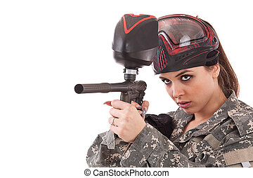 Paintball woman, isolated on white background
