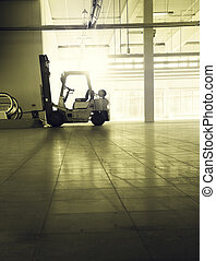 hall with forklift