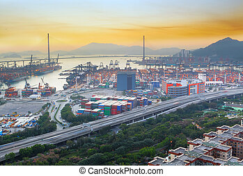 sunset in cargo container terminal
