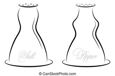 Antique salt and pepper vector illustration