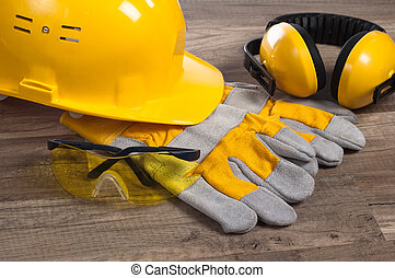 Safety gear kit close up - Standard construction safety...