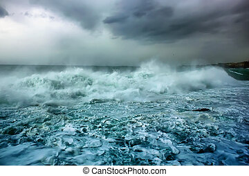 Stormy wheather - This is a photo of moody sky and sea